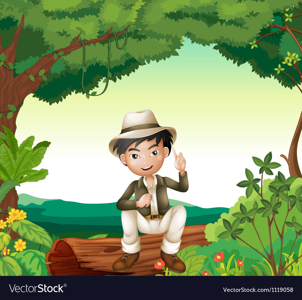 Boy in nature vector | Price: 3 Credit (USD $3)