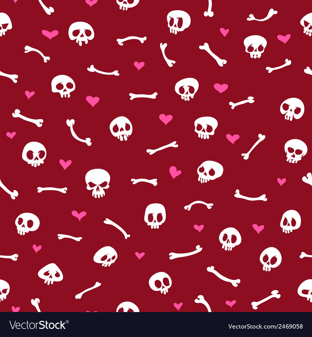 Cartoon skulls with hearts on red background vector | Price: 1 Credit (USD $1)