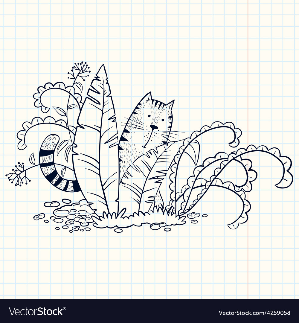 Cat in the grass vector | Price: 1 Credit (USD $1)