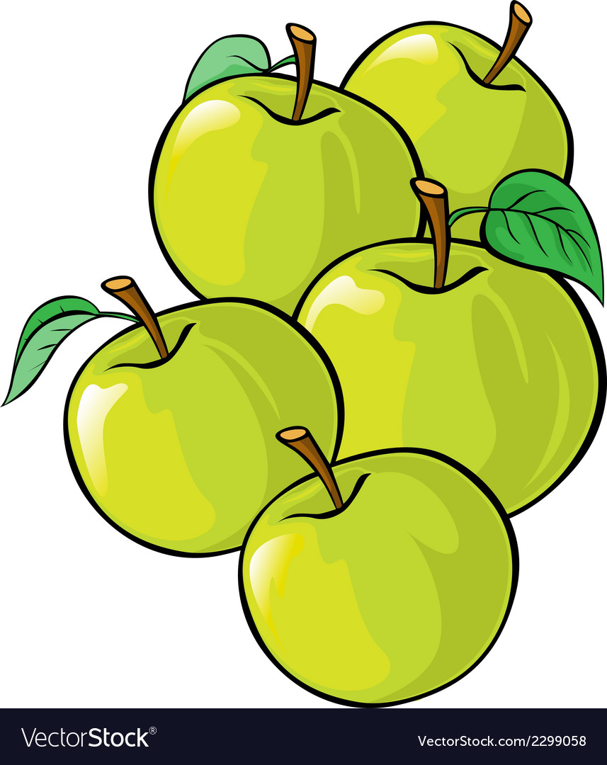 Green apples isolated vector | Price: 1 Credit (USD $1)