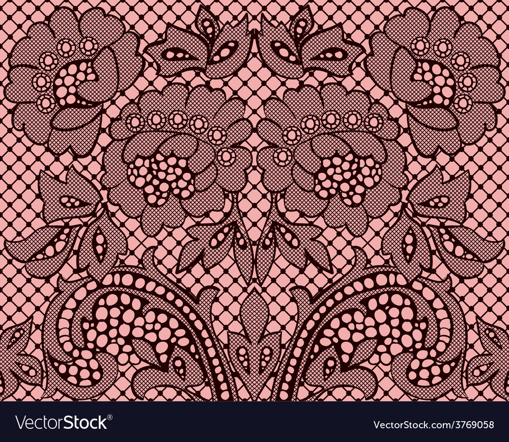 Seamlesslaceburgundyonpinkbackground vector | Price: 1 Credit (USD $1)