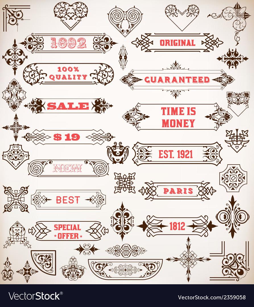 Set of calligraphic design elements vector   Price: 1 Credit (USD $1)