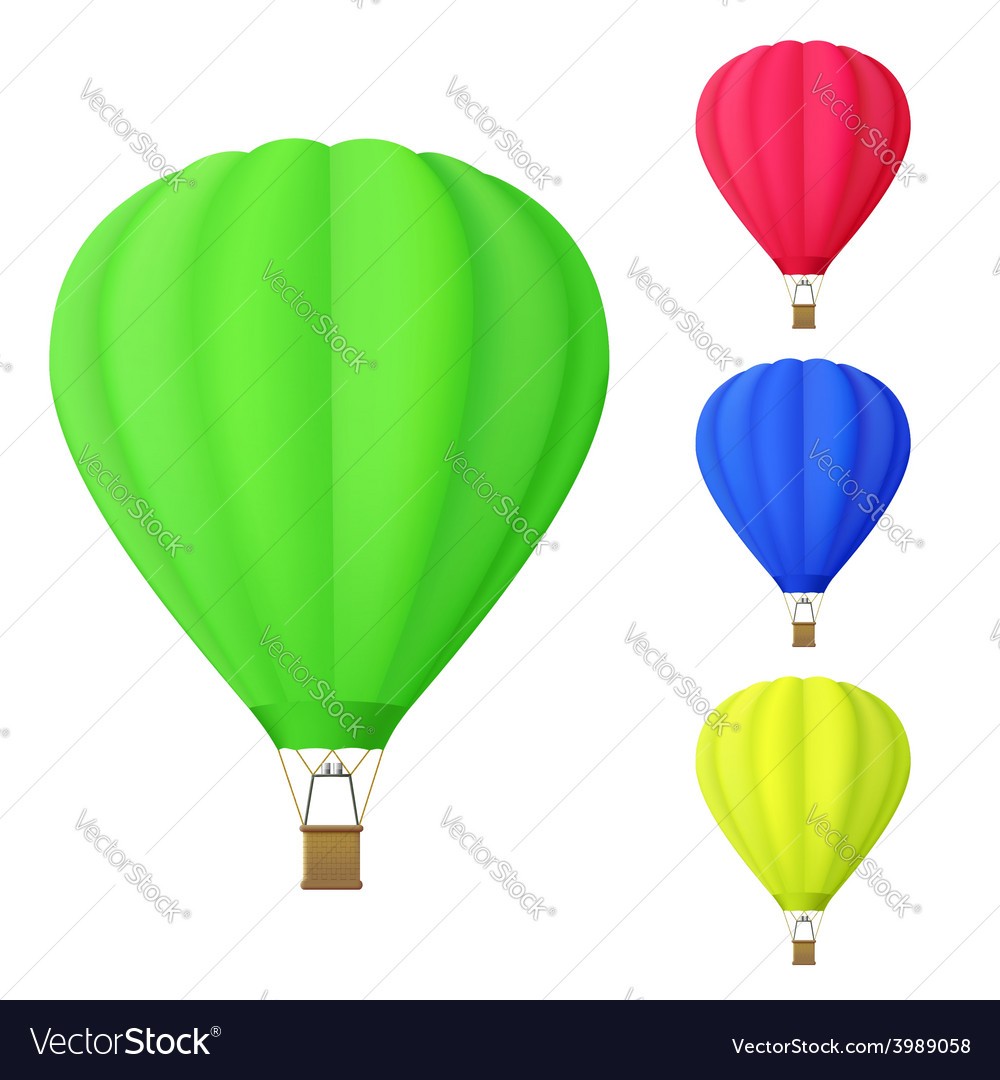 Set of colorful hot air balloon vector | Price: 1 Credit (USD $1)