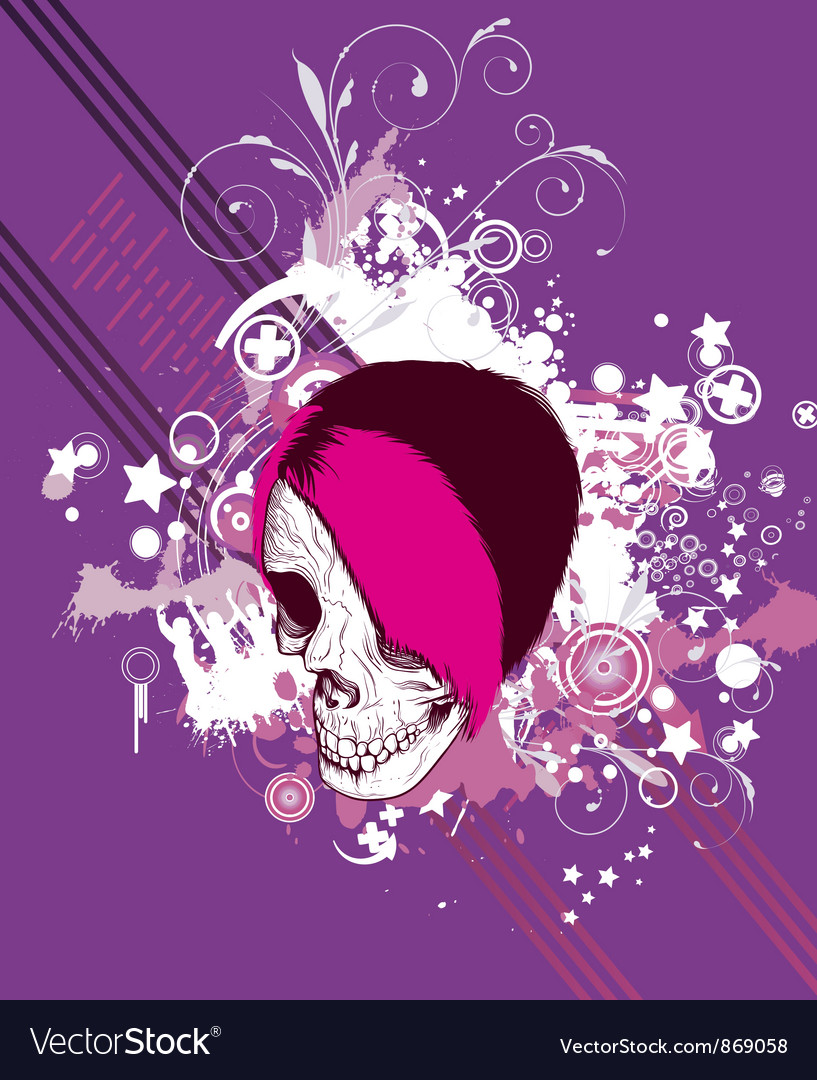 Skull with floral vector | Price: 1 Credit (USD $1)
