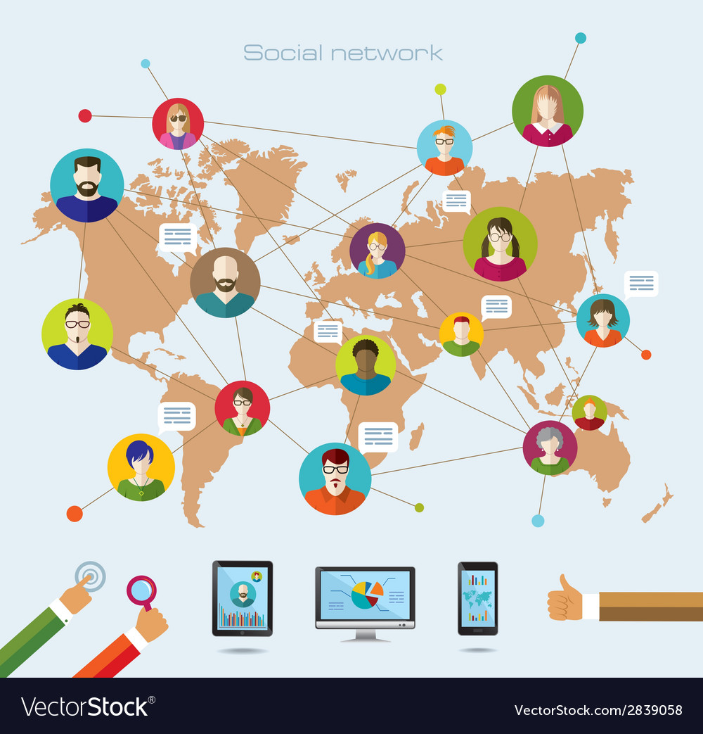 Social network and modern technology vector | Price: 1 Credit (USD $1)