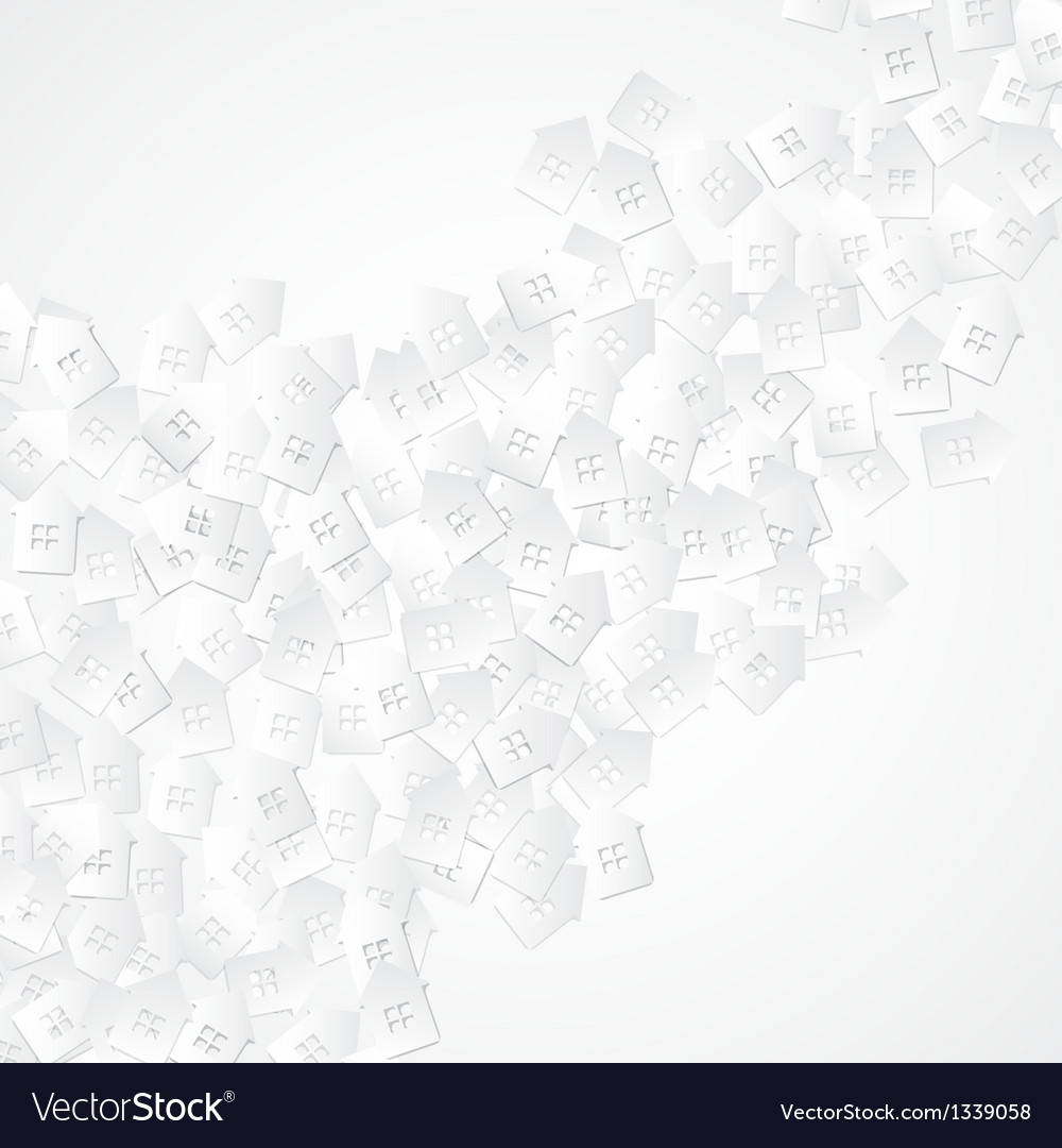 White abstract background with 3d paper cut houses vector | Price: 1 Credit (USD $1)