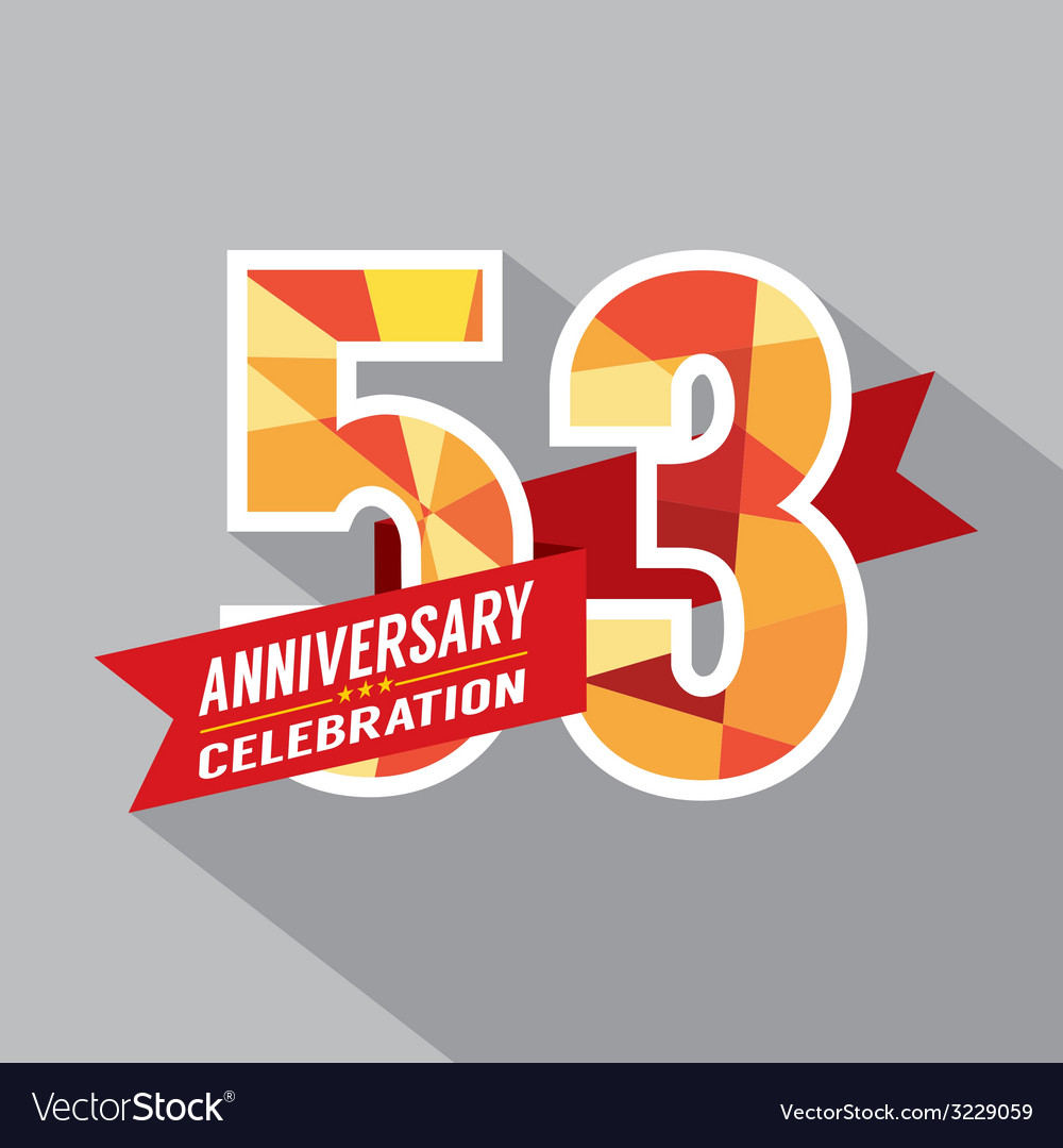 53rd years anniversary celebration design vector | Price: 1 Credit (USD $1)