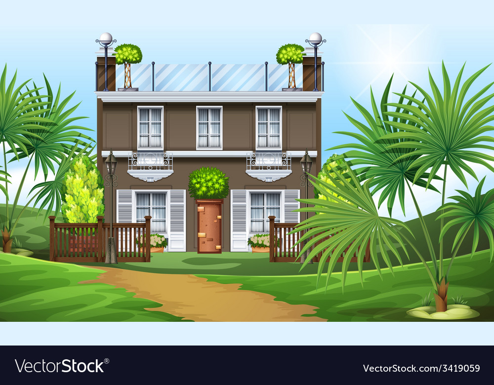 A beautiful property at the hillside vector | Price: 3 Credit (USD $3)