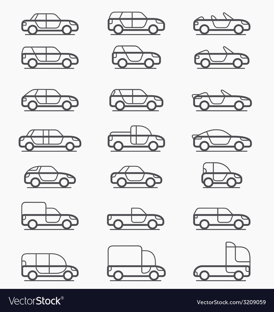 Car body types icons vector | Price: 1 Credit (USD $1)