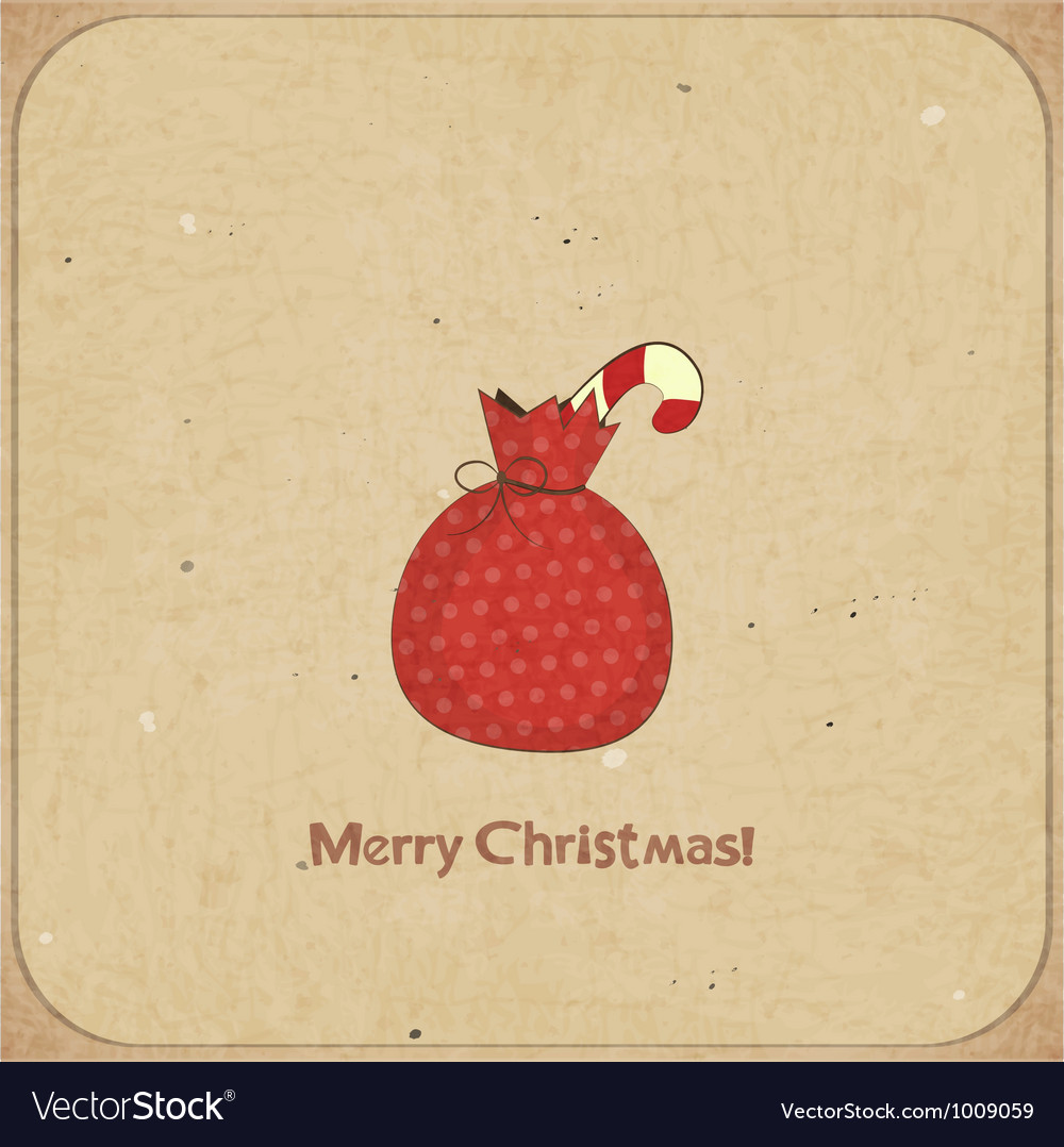 Christmas retro postcard with gift bag vector | Price: 3 Credit (USD $3)