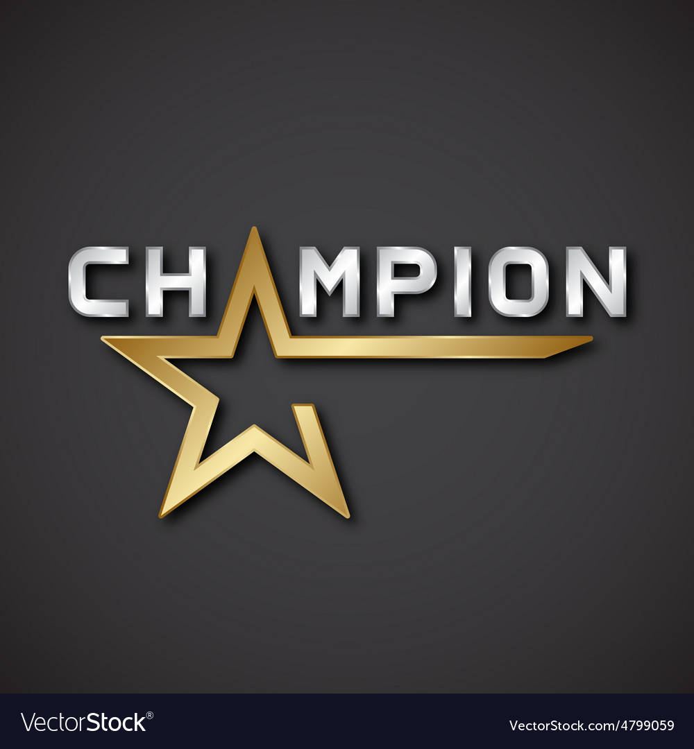 Eps10 champion golden star inscription icon vector | Price: 1 Credit (USD $1)