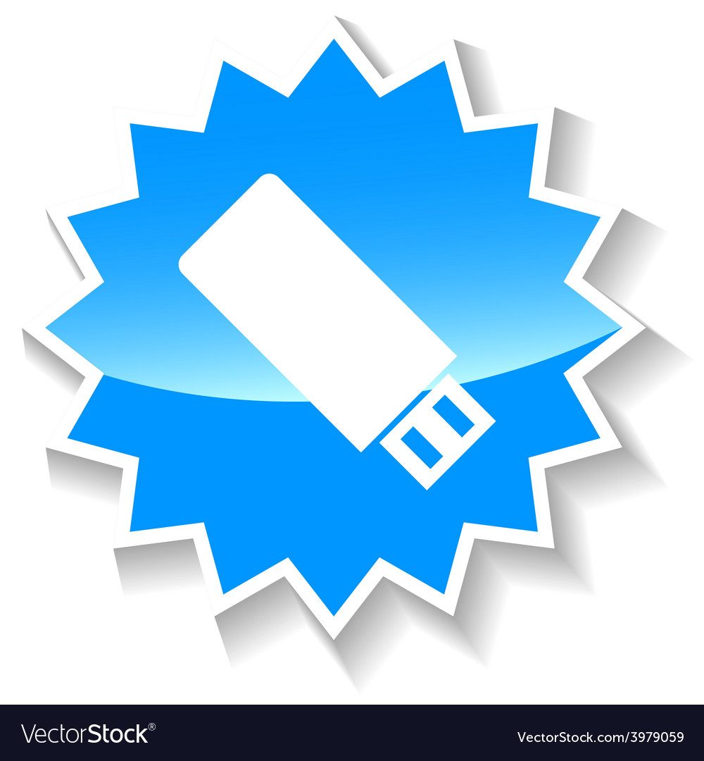 Flash drive blue icon vector | Price: 1 Credit (USD $1)