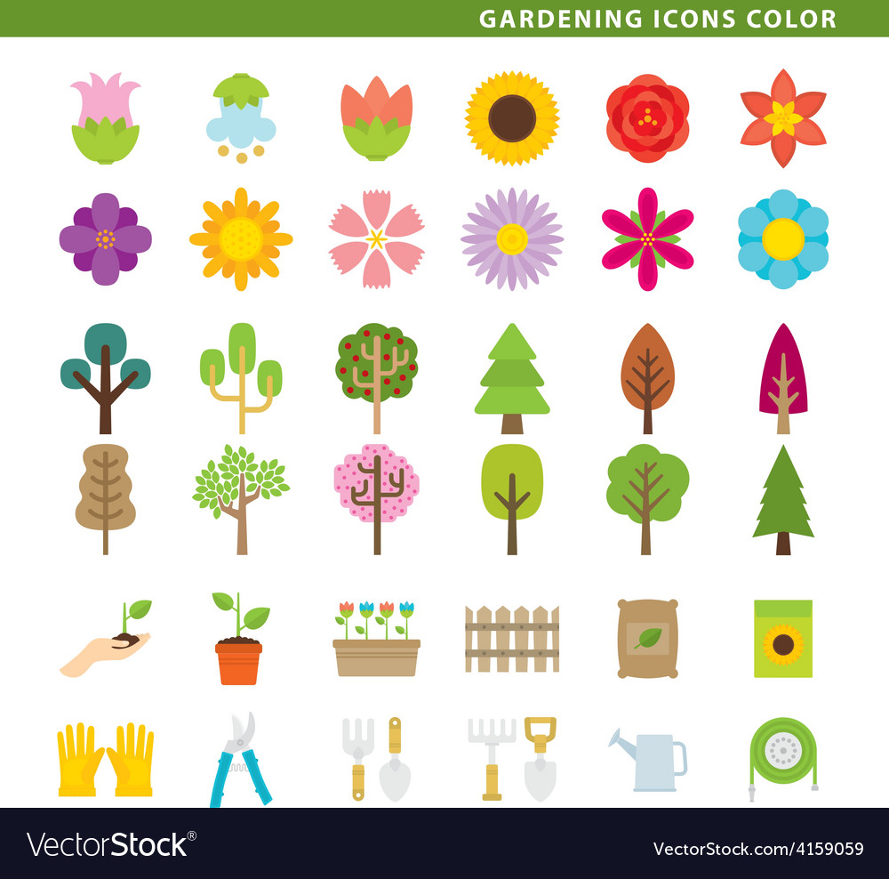Gardening icons color vector | Price: 1 Credit (USD $1)