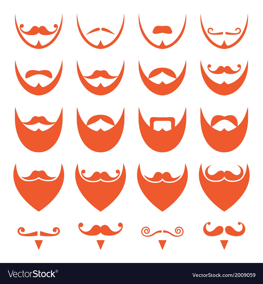 Ginger beard with moustache or mustache icons vector | Price: 1 Credit (USD $1)