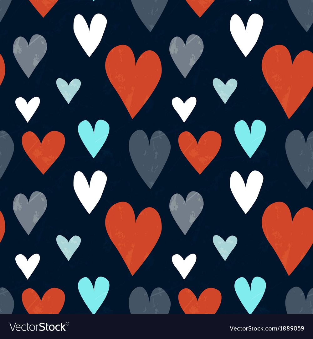 Grungy seamless heart pattern for valentines day vector | Price: 1 Credit (USD $1)