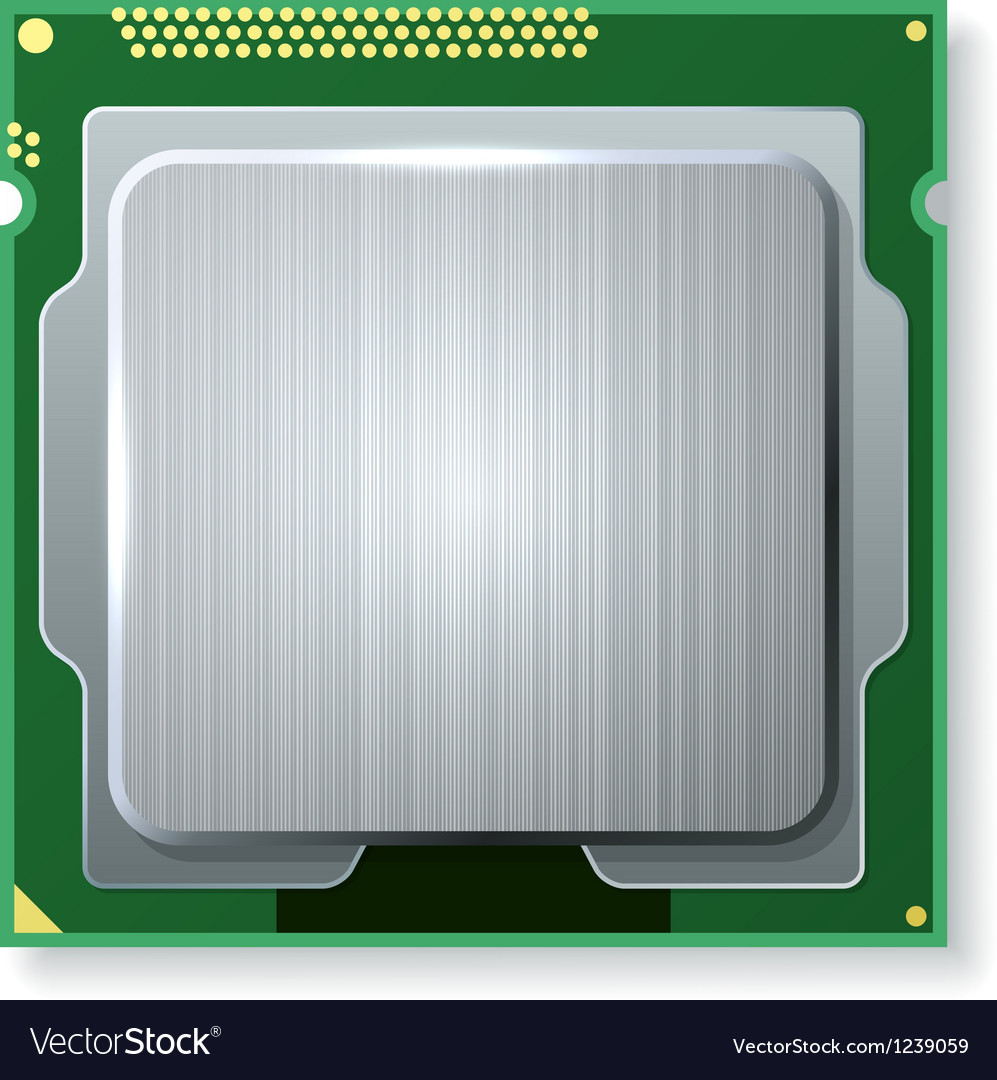 Modern computer core processing unit cpu isolated vector | Price: 1 Credit (USD $1)