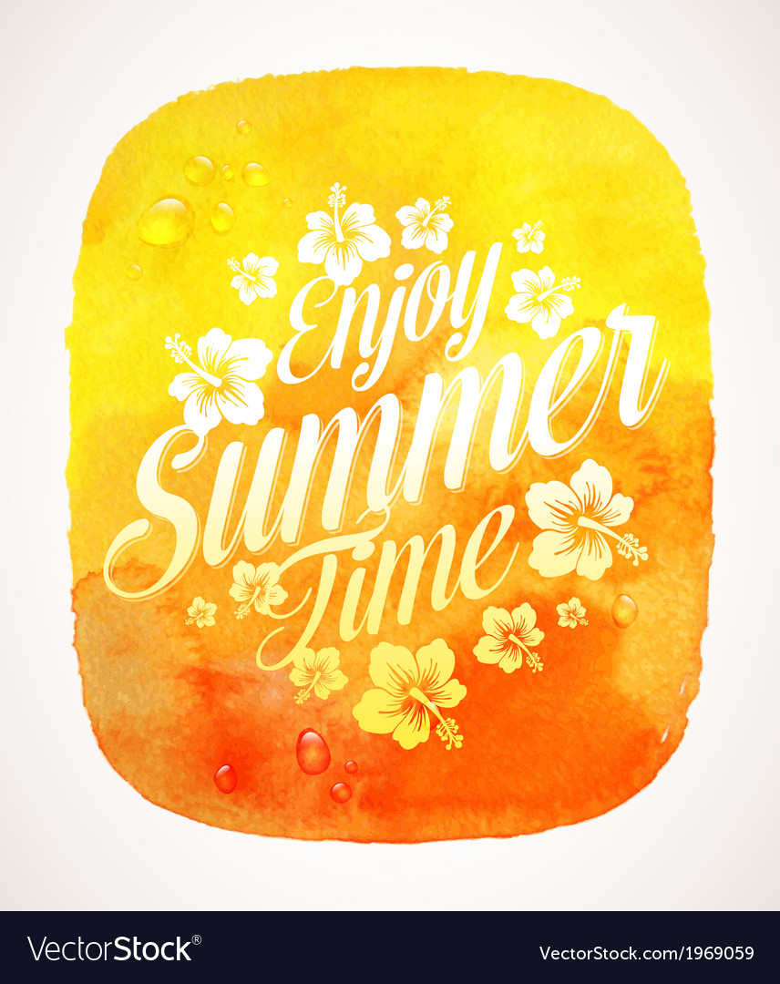 Summer time greeting with tropical flowers vector | Price: 1 Credit (USD $1)