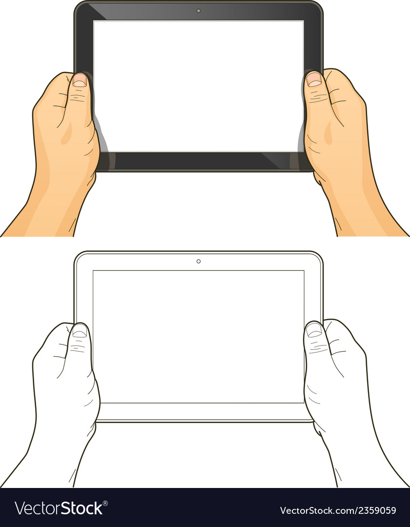 Tablet pc in hands vector | Price: 1 Credit (USD $1)