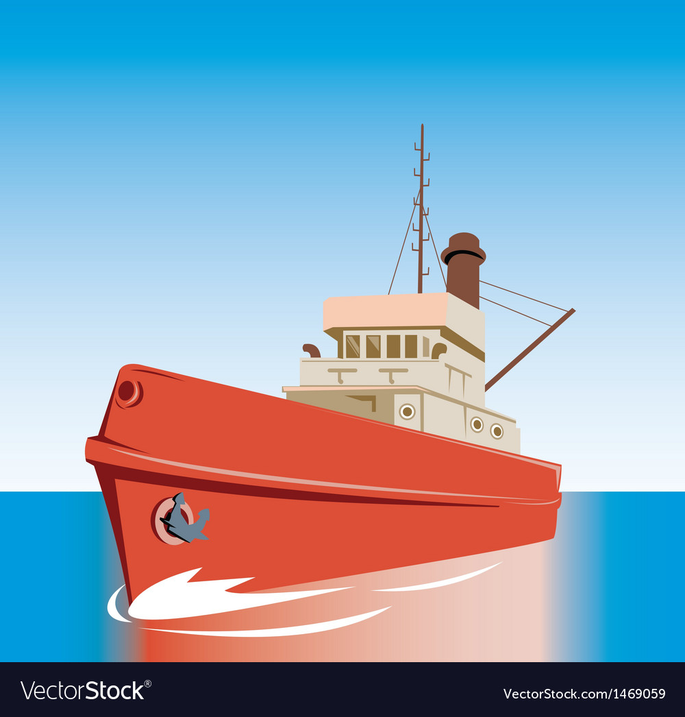 Tug boat at sea vector | Price: 1 Credit (USD $1)