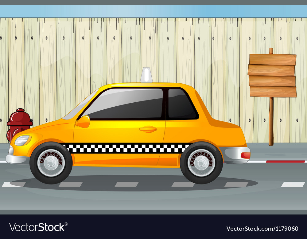 A car a fire hydrant and a notice board vector | Price: 1 Credit (USD $1)