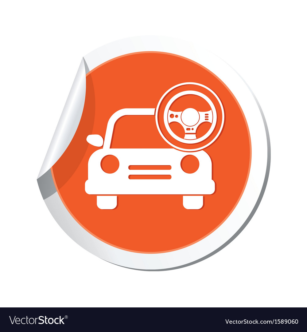 Car with rudder icon orange label vector | Price: 1 Credit (USD $1)