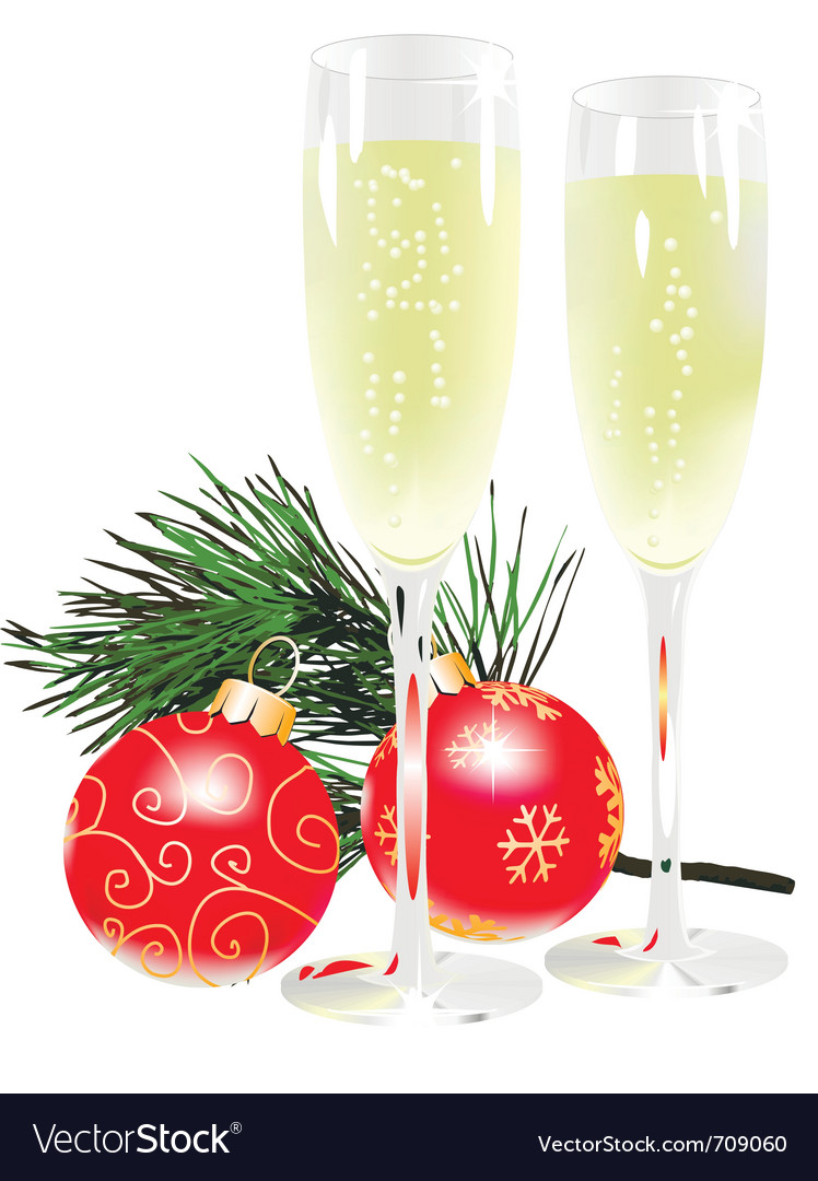Champagne and new year ball vector | Price: 1 Credit (USD $1)