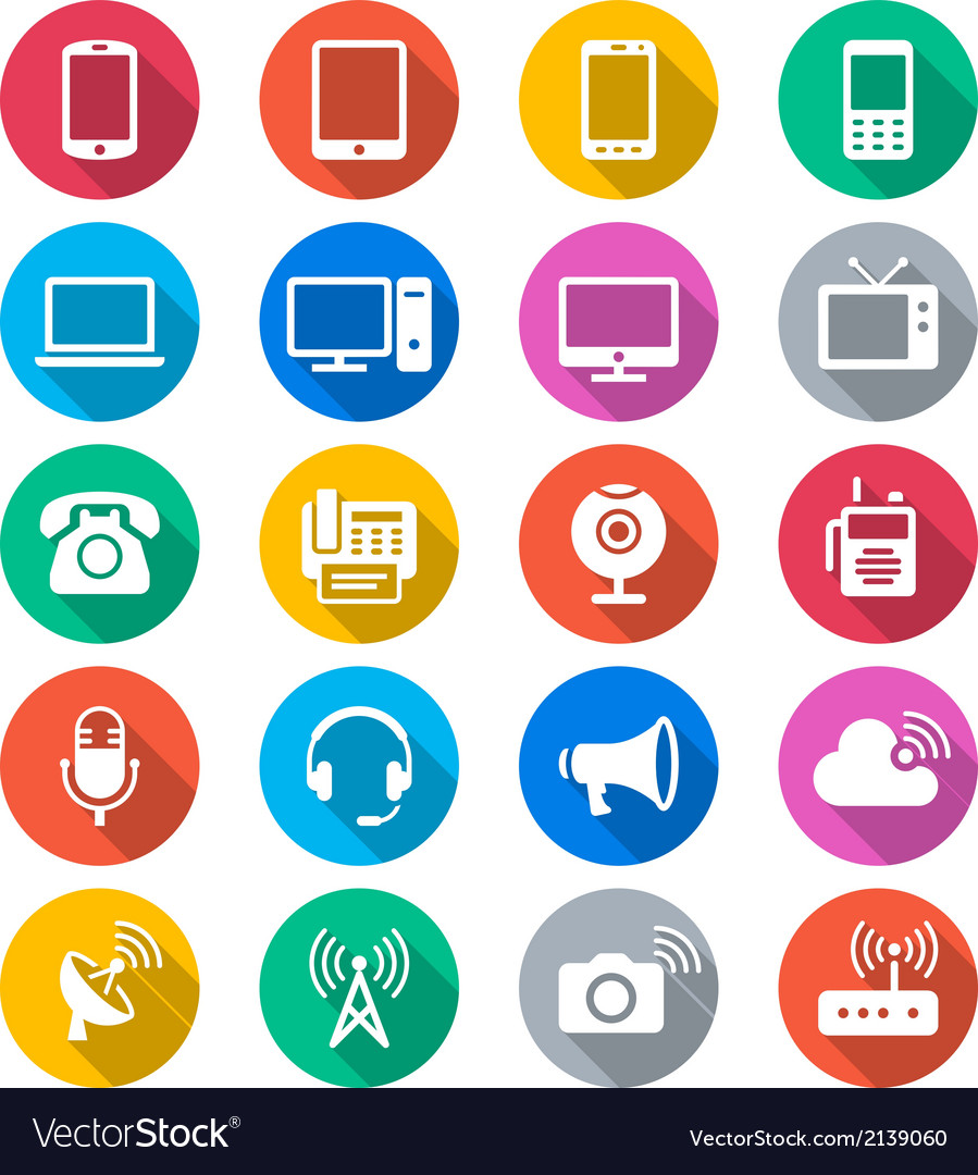 Communication device flat color icons vector | Price: 1 Credit (USD $1)