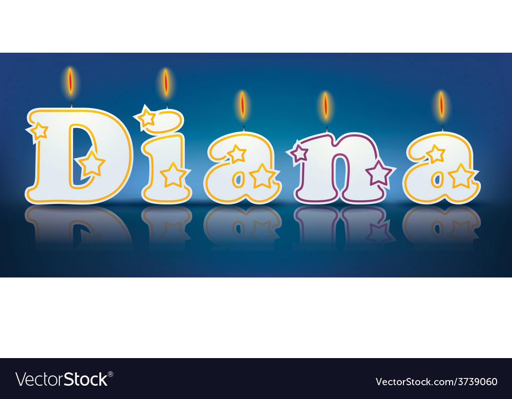 Diana written with burning candles vector | Price: 1 Credit (USD $1)