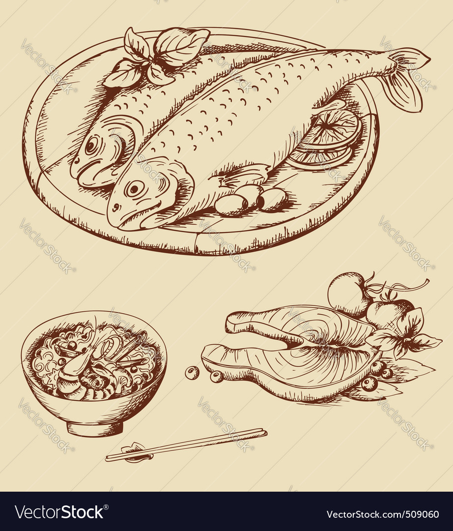 Hand drawn seafood vector | Price: 1 Credit (USD $1)