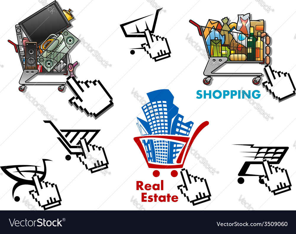 Internet market store shop design elements set vector | Price: 1 Credit (USD $1)