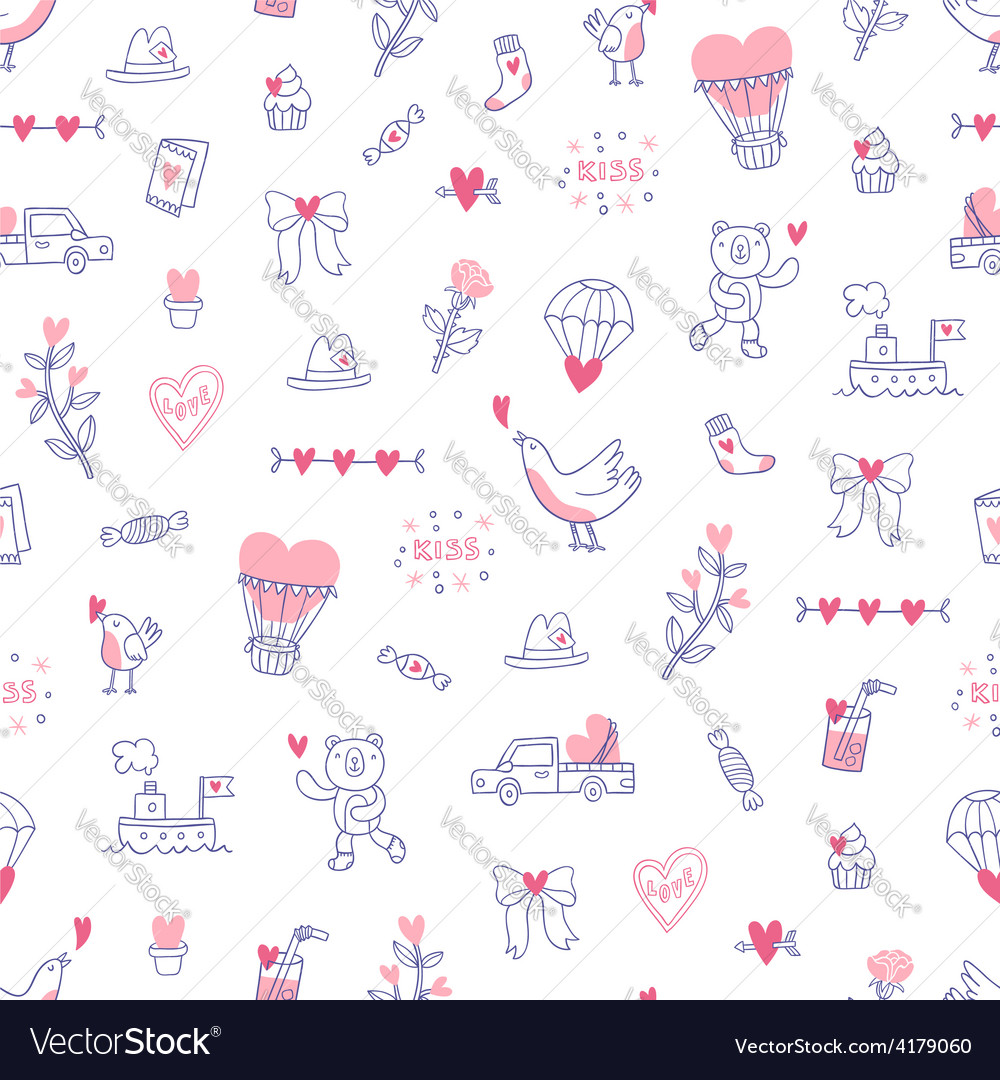 Love is everywhere valentine pattern vector | Price: 1 Credit (USD $1)