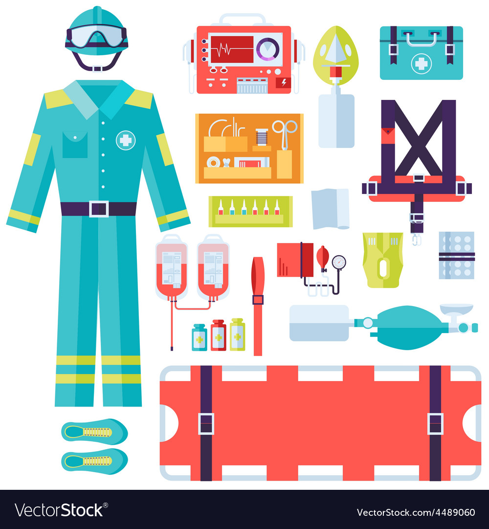 Medical rescue uniform and set first aid help vector | Price: 1 Credit (USD $1)