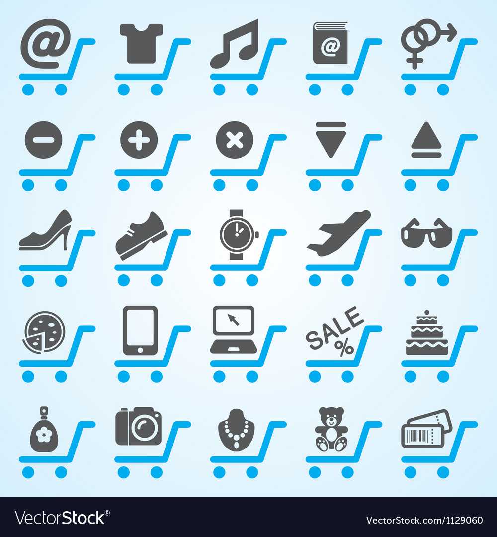 Shopping and e-commerce icons set vector