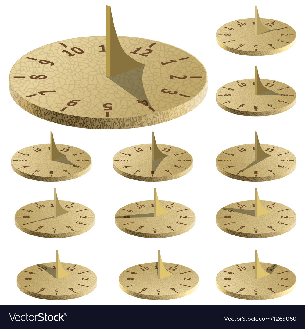 Sundial measure time by the sun vector | Price: 1 Credit (USD $1)