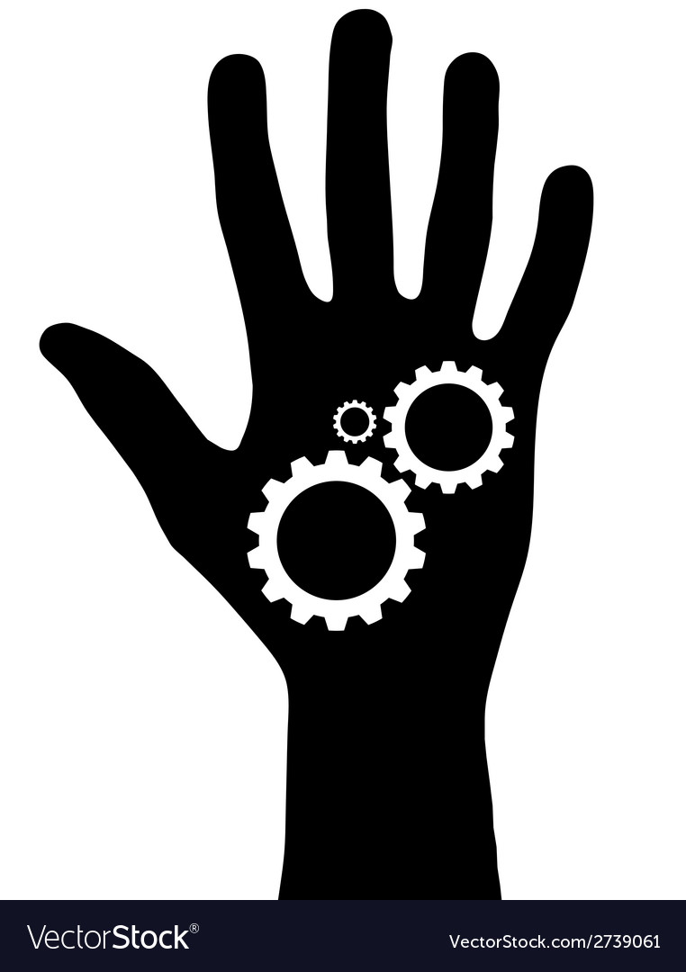 Black hand with gears vector | Price: 1 Credit (USD $1)