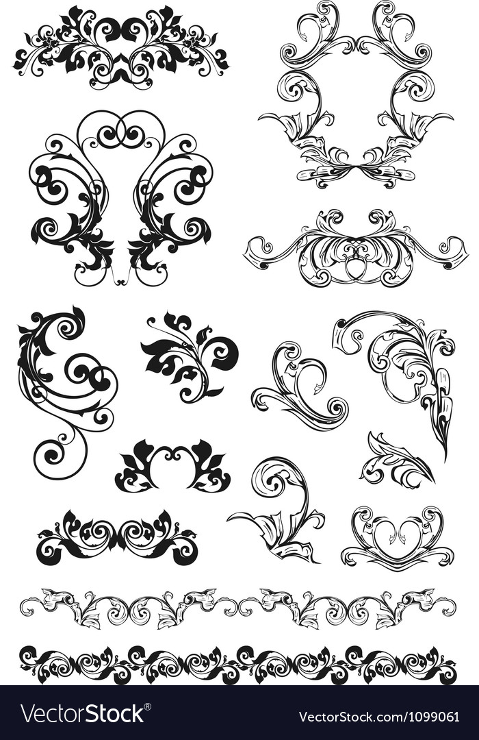 Calligraphic design set vector | Price: 1 Credit (USD $1)