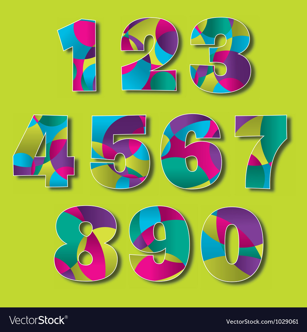 Colorful modern number set vector | Price: 1 Credit (USD $1)