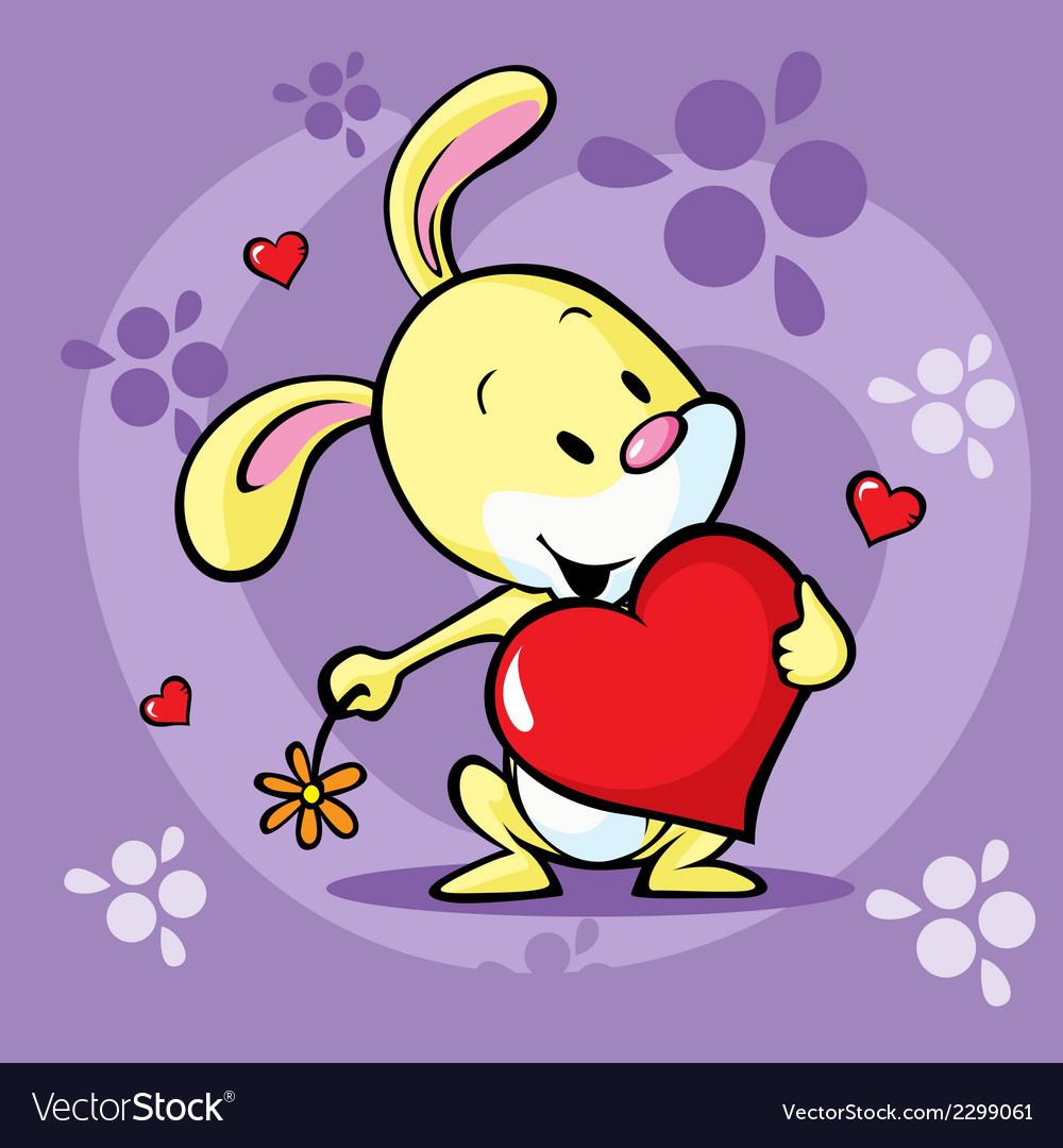 Cute bunny hold heart - cartoon vector   Price: 1 Credit (USD $1)