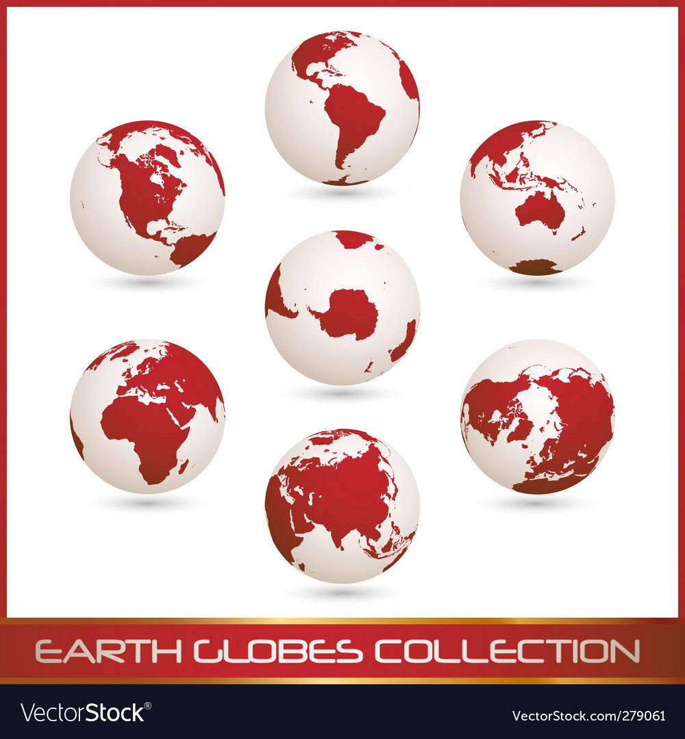 Earth globes colection white red vector | Price: 1 Credit (USD $1)