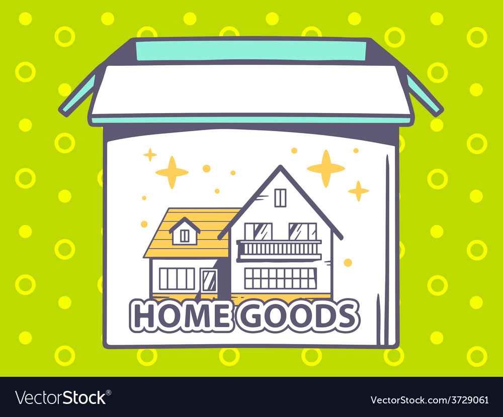 Open box with icon of home goods on gree vector | Price: 1 Credit (USD $1)