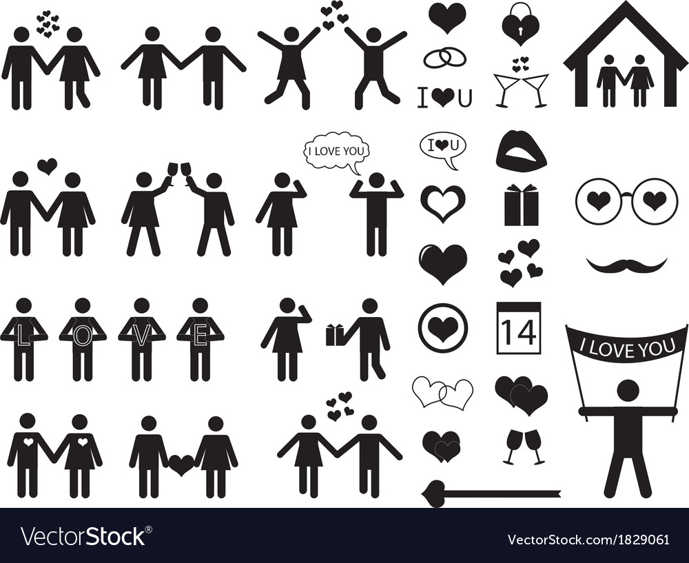 People pictogram for valentine day vector | Price: 1 Credit (USD $1)