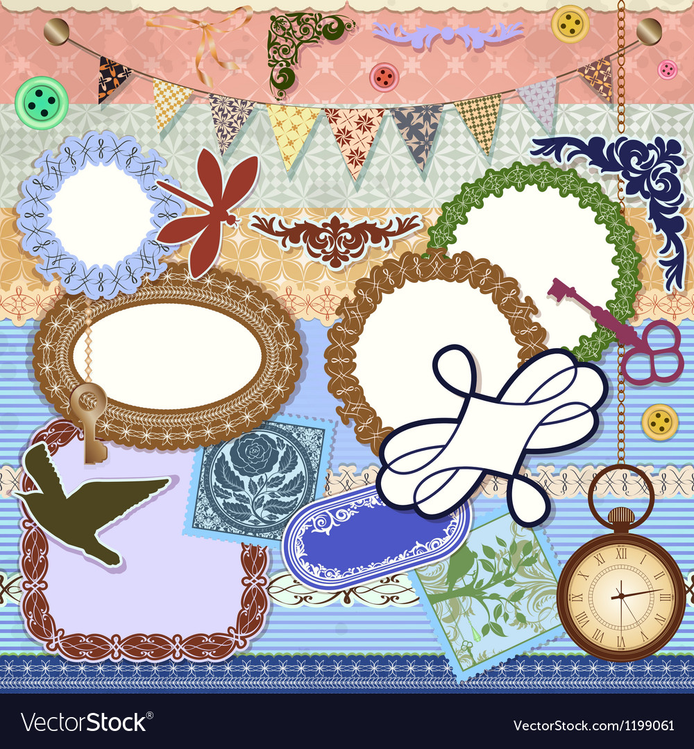 Scrap booking set vector | Price: 1 Credit (USD $1)