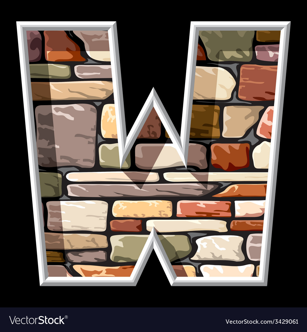 Stone letter w vector | Price: 1 Credit (USD $1)