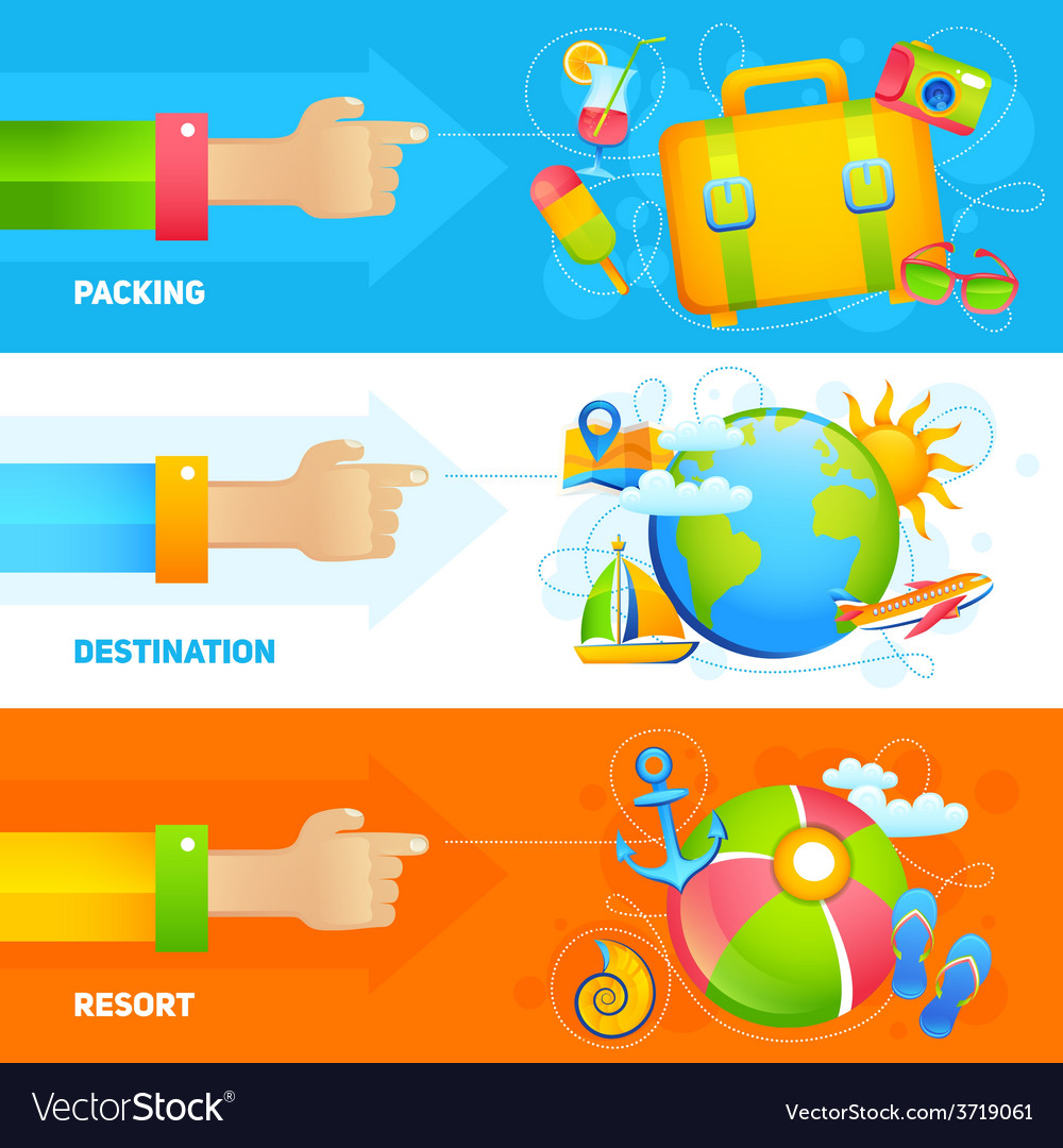 Summer vacation banner set vector | Price: 1 Credit (USD $1)