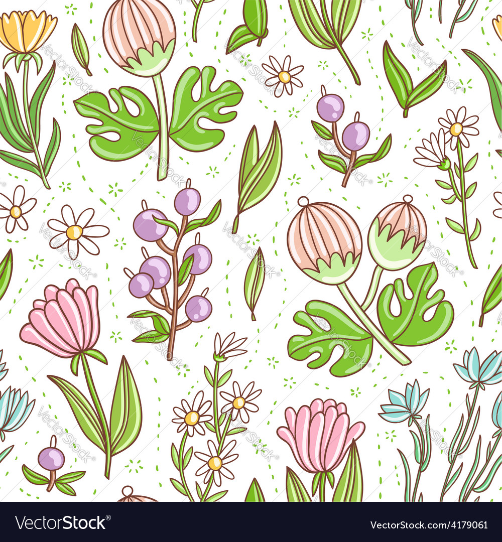 Wild floral colorful seamless pattern vector | Price: 1 Credit (USD $1)