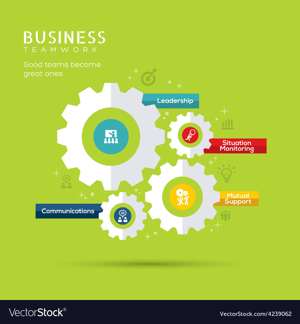 Business teamwork concept with gear icons vector | Price: 1 Credit (USD $1)