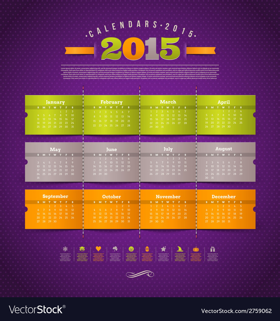 Calendar of 2015 year with holidays vector | Price: 1 Credit (USD $1)