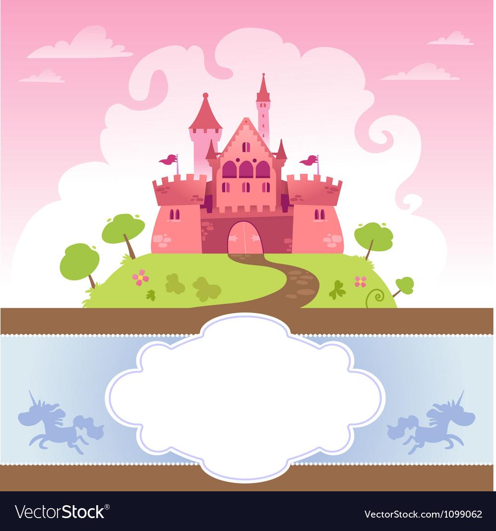 Card with cartoon castle vector | Price: 1 Credit (USD $1)