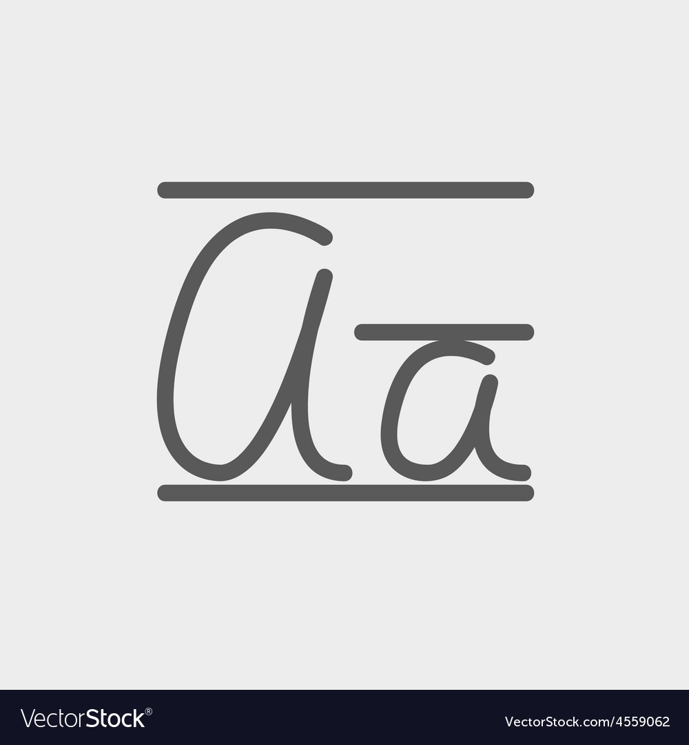 Cursive letter a thin line icon vector | Price: 1 Credit (USD $1)