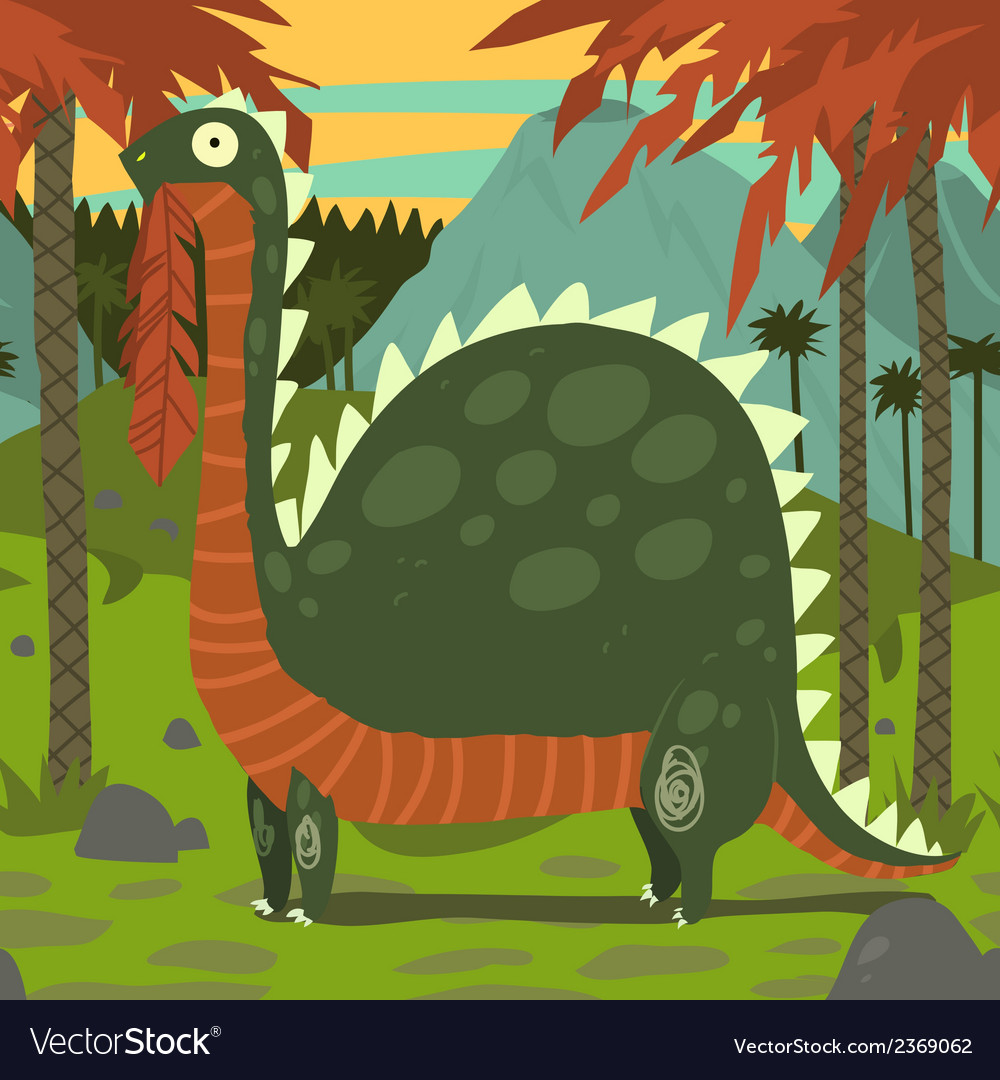 Dinosaur eating leaves vector | Price: 1 Credit (USD $1)